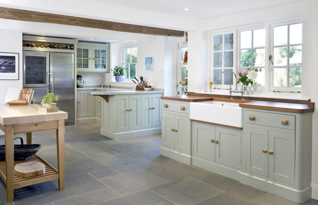 Kitchen With Teak And Granite Worktop